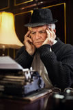 Worried Retro Senior Man writer Royalty Free Stock Images