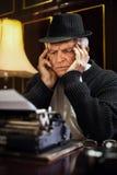 Worried Retro Senior Man writer Royalty Free Stock Images