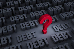 Worried About Rising Debt. A red ? stands out in a dark background of gray DEBT rising up around it vector illustration