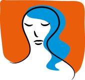 Worried and sad woman. Unhappy woman. Sad woman thinking. Worried female thinker woman stock illustration