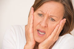 Worried Scared shocked woman portrait Royalty Free Stock Images