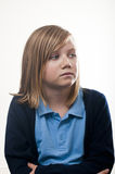 Worried school girl Royalty Free Stock Photos