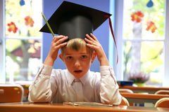Worried schoolboy. Not-understanding of lesson. Elementary school Royalty Free Stock Images