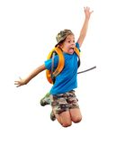 Worried schoolchild with backpack hurrying up Royalty Free Stock Images