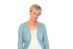 Worried senior older woman Royalty Free Stock Image