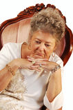 Worried senior woman. Royalty Free Stock Photography
