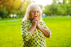 Worried senior woman. stock photography