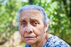 Worried senior woman Royalty Free Stock Images