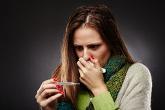 Worried sick woman with flu royalty free stock images