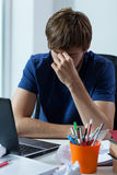 Worried student with computer Royalty Free Stock Photography