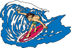 Worried surfer. Riding a big wave stock illustration