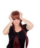 Worried teenage girl dressed in black with a piercing Royalty Free Stock Images