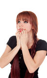 Worried teenage girl dressed in black with a piercing Stock Image