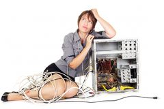 Worried woman with computer Stock Photos