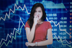 Worried woman with declining financial graph Stock Photos