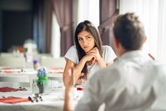 Worried woman doubting.Angry female despise partners actions,agitated person having relationship problems Royalty Free Stock Photography