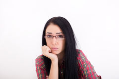 Worried woman face Royalty Free Stock Images