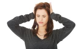 Worried woman. Have big problem Stock Photo