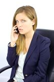 Worried woman on the phone Royalty Free Stock Images