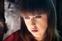 Worried woman portrait royalty free stock image