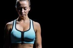 Worried woman in sportswear Royalty Free Stock Photo
