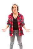 Worried woman spread hands and doesn't know what to do, isolated Royalty Free Stock Images