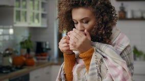 Drinking hot tea stock footage