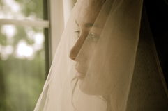 A Worried Young Bride Royalty Free Stock Images