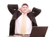 Worried young business man with notebook Royalty Free Stock Photography