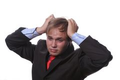 Worried young businessman Royalty Free Stock Photos