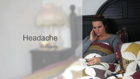 Worried Young twenties woman in bed typography - Headache Version stock video