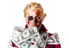 Worried zombie with Dollar bills Stock Photo