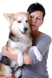 Worries. Portrait of a worried looking young woman and her dog Stock Photography