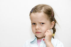 Worries small young girl Stock Photography