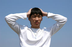 Worries Young Asian Man Royalty Free Stock Images