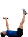 Worrkout Posture. Man doing abdominals workout posture on isolated white background Stock Image