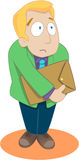 Worry. A man bring an envelope and he is worry about is job vector illustration