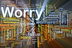 Worry background concept glowing. Background concept wordcloud illustration of worry glowing light royalty free illustration