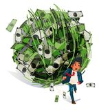 Worry businessman run away from big money ball. debt, tax or fin. Ancial crisis concept - vector illustration Stock Photography