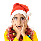 Worry expression boy Santa Claus Stock Image