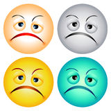 Worry faces. Different colour worry faces illustration on white background vector illustration