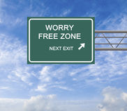 Worry free zone. Road Sign to worry free zone Royalty Free Stock Photos
