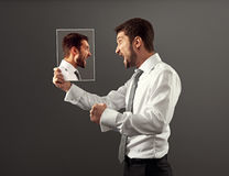 Man have a hot discussion with himself Royalty Free Stock Photography