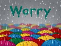 Worry Rain Shows Umbrellas Precipitation And Umbrella Stock Photos