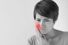 Worry woman with toothache, oral problem. Anxiety mood Royalty Free Stock Photos