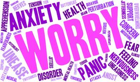 Worry Word Cloud. On a white background Stock Photo