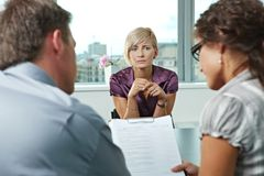 Worrying during job interview Stock Photos