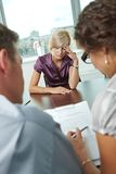 Worrying during job interview Stock Image
