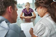 Worrying during job interview Stock Images