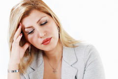 Worrying woman. Pretty businesswoman with worry expression Stock Photo